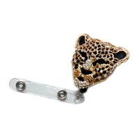Wholesale Retractable Fashionable Badge Holder D Cute Bling Rhinestone Leopard Head Reels ID Document Card Clip Holders
