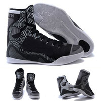 Cheap (With shoes Box) Kobe 9 IX Elite High Boots BHM Black History Month Blackout 704304-010 Bryant KB Men Hot Sale Shoes Free Shipping