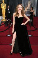 Wholesale Angelina Jolie Tiered Red Carpet Dress Sexy Black Vestidos Celebrity Gown Side Split Party Dress