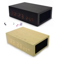 wooden hand display - W1 Wooden Bluetooth Alarm Clock Stereo Speaker with LED Time Temperature Display NFC Dual USB Charger Hands free bluetooth speaker