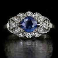 art deco sapphire gold ring - VINTAGE COCKTAIL NATURAL CORNFLOWER BLUE SAPPHIRE DIAMONDS ART DECO RING FLOWER