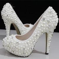 Boda de la sandalia del tacón alto cm España-Los zapatos nupciales de la boda de los cristales de las perlas de la manera calzan los zapatos nupciales por encargo de las mujeres del baile de fin de curso del partido del alto talón del tamaño 11 que envían libremente