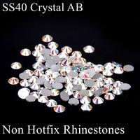 Wholesale 144pcs ss40 Non Hot Fix Crystal Rhinestones White Crystal AB Flat Back Glue On Glass Stones DIY Craft Wedding Dresses Decoration