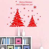 Wholesale DIY New Year Christmas Doubles Tree Wall Decor Merry Christmas Bedroom Living Room Home Store Decorations Background Wall Stickers