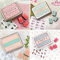 Wholesale 12pcs Set Universal Decoration Rubber Signets Stamps With DIY Sticker For DIY Photo Album And Notebooks