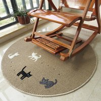 Wholesale Round Carpet four cats Modern Brief Coffee Table Sofa Hanging Basket Large Floor Mats Doormat Bedroom Carpet Bruge Dia cm