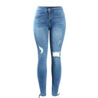 Wholesale Women s Plus Size Mid Waist Ultra Stretch Ripped Knees Torn Hem Denim Pants Jeans For Women