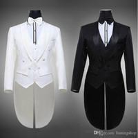Wholesale Hot Tailcoat Groom Tuxedos Best Man Groomsmen Men Wedding Suits Notch Lapel Performance Suit Black White Jacket Pants Tie Vest