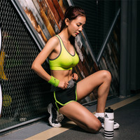 Wholesale 2017 Sexy Female Sport Suits Jogging Shock Absorption Sports Bra Shorts Yoga Clothing Vest Shockproof Running Fitness Sports Underwear