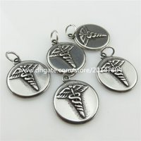 antique pewter - 19914 Antique Pewter Stainless Steel Round Spiral Wings Cross Pendant