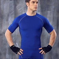 aerobic outfits - Newest Arrival Mens Short Sleeve Tights Tops Shirt Gym Fitness Aerobic Exercises Outfit Running Training Basketball Maillot