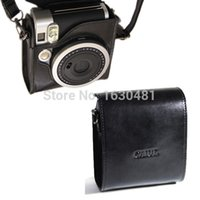 Wholesale Fujifilm Instax Mini Camera Leather Case Bag Black Color with Shoulder Strap