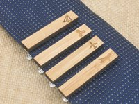airplane clips - Airplane Tie Clip Bamboo Wooden Propeller Paper Plane Tie Bars Men s Formal Wear Accessories