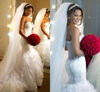 Wholesale 2017 Elegant Lace Mermaid Wedding Dresses Sweetheart Sleeveless Sexy Tulle Ruffle Pleats Robe De Mariage Applique Sheer Neck Bridal Gowns WB