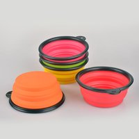 Wholesale Outdoor Silicone Folding Pet Bowl Black Frame Food Grade Portable Cat Dog Bowls Eco friendly Feeders Hot Selling