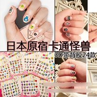 Wholesale Cartoon nail stickers New D Monster Glitter Nail Art Stickers Fashion Designed Nail Wrap Decals Korean natural nail sticker BJ074