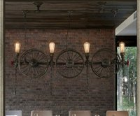 bars on wheels - American creative Loft industrial pendant light country design iron wheel pendant light vintage restaurant bar decoration LED pendant light