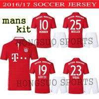 Wholesale Best quality Bayern Munich LEWANDOWSKI Home red RIBERY MULLER ROBBEN COSTA mans kit short sleeveCUSTOM SHIRTS