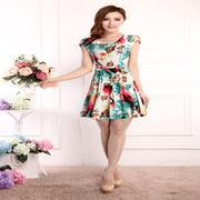 Wholesale 2016 large size women summer milk silk short sleeved chiffon dress
