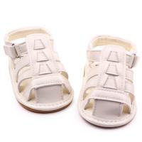 bebe sandals - New Soft TPR Hard Sole Baby Shoes PU Leather Gladiator Sandal Hook Loop Infant Prewalker Wedding Shoes for Girls Boys Zapatos Bebe