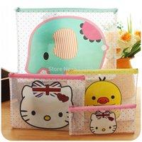 Wholesale set piece cute cartoon creative zipper bags Transparent file folder information notes folder Korea stationery