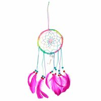 Wholesale Hot Sale LED Light Indian Style Handmade Dream Catcher Circular Net With feather Ornament Gift Card Home Christmas Decor