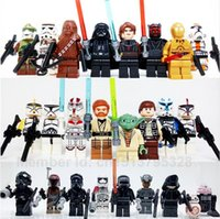 Wholesale 24pcs set Star Wars Minifigures Yoda Obi Wan Darth Vader BB8 The Force Awakens Building Blocks Sets Bricks Toys Compatible