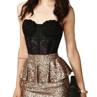 Cheap Wholesale-Women Floral Crop Top Lace Bustier Corset Bra Strapless Bodycon Tops