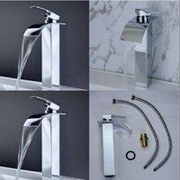 Wholesale Squar Style Bathroom Basin Sink Mixer Tap Waterfall Vessel Faucet Single Handle Faucets Lavatory Vessel Taps