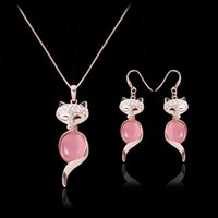 african fox - Necklace Earrings Jewelry Set Fashion Exquisite Luxury High Grade Rhinestone Opal K Gold Plated Fox Party Jewelry Piece Set JS245