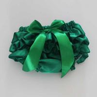La Navidad verde Ruffle Bloomer para las muchachas de los bebés de las muchachas de los calcetines de las muchachas infantiles Toddle Satén Ruffle Bloomer X-mas Newborn Diaper Cover