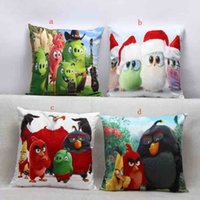 Wholesale Angry Birds Pillow Covers Cartoon Cushion Covers Linen Christmas Pillow Case Cushion Cover European Throw Pillow Cases