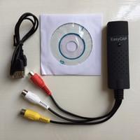 Wholesale USB Video Adapter with Audio EasyCAP Capture Card TV DVD VHS Captura de v deo Card AV for Computer EasyCAP DC60 Lines