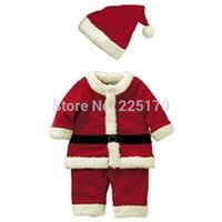 Wholesale Baby Kids Boys Christmas Suits Xmas Santas Clothes Jumpsuits Hat Cosplay Outfits