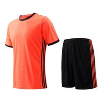 adult football jersey blank - Three stripes Men sportswear Athletic training Orange Jogging Clothing jersey and shorts adult running soccer team sets football kits Blank