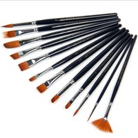 Wholesale A set of short pole dark blue pole different shapes Nylon hair brushes Oil paints art sets