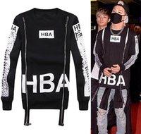 Wholesale 2016 Mens HBA Sweatshirts Hip Hop Hoodies O Neck Zipper Personality Design d Print Streetwear Man HBA Hoodie Tops