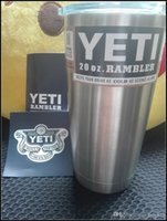 stainless steel coffee mug - 20oz Yeti Cups Cooler Rambler Tumbler Stainless Steel Double Wall Bilayer Vacuum Insulate Silver Insulated Thermos Coffee Mug Cup OOA119