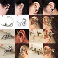 Wholesale New Different Styles Earring Alloy Clip Ear Cuff Stud Women Punk Style NO Ear Hole Earrings with ladies Fashion Jewelry
