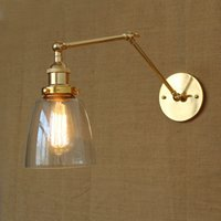 antique gold wall lights - Long Arm Clear Glass Wall Light Retro Vintage Exclusive Hotel Lobby Bedroom Bedside RACK Antique Gold Decorative Wall Sconce