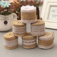 Wholesale New Arrival M Jute Burlap Hessian Ribbon with Lace Trims Tape Roll Vintage Rustic Mariage Wedding Cake Topper Ribbon Crafts JM0238