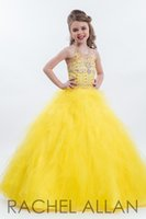 Wholesale 2016 Girl s Pageant Dresses Flower Girls Gown Princess Gown for Communion Party with Beads Sequins Crystal Halter Halter Backless Tulle