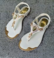 adhesive jewels - 2016 Summer Korean version of the influx princess sandals Rhinestone jewel in Europe and America elastic clip toe flat shoes