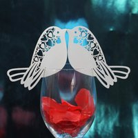 Wholesale Fashion Wedding Favor Decorations Hollow Out Bird Table Mark Wine Glass Cards Name Place Party Decoration Card