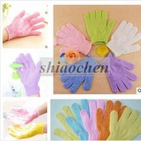 Wholesale Exfoliating Bath Glove Five Fingers Bath Gloves Skin Body Bath Shower Loofah Sponge Mitt Scrub Massage Spa Bathroom Bathing Gloves A1247