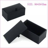 Wholesale 120pcs Black Cufflink Box Cufflink Gift Case Holder Jewelry Packaging Boxes Organizer Black