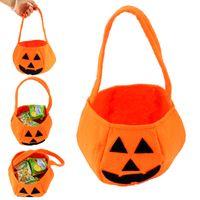 Wholesale Child Treats - Halloween Smile Pumpkin Bag Kids Candy Bag Children Handheld bag Party Supplies Trick or Treat Delicate Halloween Decoration Supplies