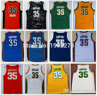 Wholesale 35 Kevin Durant retro throwback White Yellow Blue Orange Jersey Size extra small S XS xl top quality