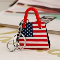 Wholesale Women s fashion the national flag of the United States British flag key chain jewelry gift manual acrylic key ring MIAITI