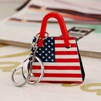 Wholesale Women s fashion the national flag of the United States British flag key chain jewelry gift manual acrylic key ring MIAITI